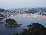 San Sebastian Bay at Night, Basque Country, Euskadi, Spain Photographic Print by Christian Kober
