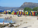 Colourfully Painted Victorian Bathing Huts in False Bay, Cape Town, South Africa, Africa Fotografisk tryk af Yadid Levy