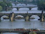 Charles Bridge on the Vltava River, Prague, Czech Republic Photographic Print by Kim Hart