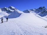 Alpine Ski Tourers Start from Muottas Muragl at 2453M, Pontresina, Switzerland Photographic Print by Kim Hart