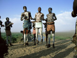 Jumping Fertility Dance, Karo Tribe, Omo River, Ethiopia, Africa Photographic Print by Dominic Harcourt-webster