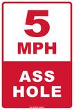 5 MPH Ass Hole Carteles metálicos