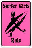 Surfer Girls Rule Carteles metálicos
