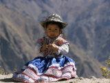 Little Girl in Traditional Dress, Colca Canyon, Peru, South America Fotografisk trykk av Jane Sweeney