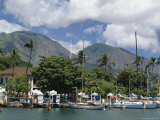Sailing Boats in the Harbour of Lahaina, an Old Whaling Station, West Coast, Hawaii Reproduction photographique par Tony Waltham