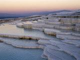 Pools at Sunset, Pamukkale, Unesco World Heritage Site, Anatolia, Turkey Photographic Print by Adam Woolfitt