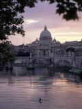 Skyline of St. Peter's from Ponte Umberto, Rome, Lazio, Italy Photographic Print by Adam Woolfitt