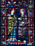Two Angels in Stained Glass in the Central Choir, Chartres Cathedral, Chartres Photographic Print by Adam Woolfitt