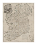 A Map of the Kingdom of Ireland, Divided into Provinces Premium Giclee Print by John Rocque