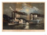 A Midnight Race on the Mississippi Reproduction procédé giclée par Mary Cassatt