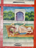 Scenes from the Kama Sutra from Cupboard in the Juna Mahal Fort, Dungarpur, Rajasthan State, India Impressão fotográfica por  R H Productions
