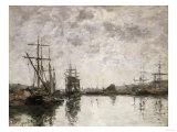 Deauville, Le Bassin, 1890 Reproduction procédé giclée par Eugène Boudin