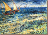 Seascape at Saintes-Maries, c.1888 Stretched Canvas Print by Vincent van Gogh