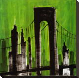 Green Cityscape Stretched Canvas Print by Paul Brent