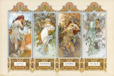 The Four Seasons Pôsters por Alphonse Mucha