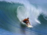 Surfer on Wave, Lagundri Bay, Pulau Nias, North Sumatra, Indonesia Fotografisk tryk af Paul Kennedy