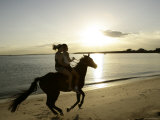 Two Girls Horseriding along Beach at Yarra Bay, Botany Bay, Sydney, New South Wales, Australia Photographic Print by Oliver Strewe
