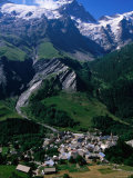Le Chazalet, La Grave Village Below, with la Meije Rhone-Alpes, France Photographic Print by John Elk III