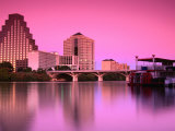 Austin City Skyline Reflected in Town Lake, Austin, Texas Photographic Print by Richard Cummins