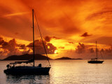 Moored Yachts at Sunset, Tortola, Virgin Islands Fotografisk tryk af John Elk III