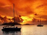 Moored Yachts at Sunset, Tortola, Virgin Islands Lámina fotográfica por John Elk III