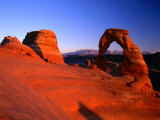 Delicate Arch and Surrounding Slick-Rock with La Sal Mountains in Distance, Utah Photographic Print by Ross Barnett