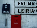 Street Signs and Letterbox in Tomar, Tomar, Ribatejo, Portugal Photographic Print by Jeffrey Becom