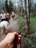 Family on Horseback Ride, Jasper National Park, Alberta, Canada Photographic Print by Philip & Karen Smith