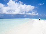 Morning Jogger on Sandbank, Kuramathi Island, Rashdoo Atoll, Alifu, Maldives Photographic Print by Felix Hug