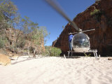 Helicopter on Sand at Bullo River Station, Near Kununurra, Northern Territory, Australia Fotografisk tryk af Michael Gebicki