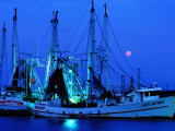 Moon over Shrimp Trawlers in Harbour, Palacios, Texas Stampa fotografica di Holger Leue