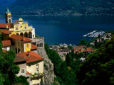 Sanctuary of Madonna del Sasso, Locarno and Lago Maggiore, Locarno, Ticino, Switzerland Fotografie-Druck von Glenn Van Der Knijff