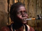 Woman Smoking a Pipe, Gambela, Ethiopia Fotografisk tryk af Ariadne Van Zandbergen
