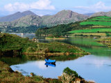 Blue Boat on Tranquil Kenmare River, Munster, Ireland Reproduction photographique par John Banagan