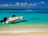 Speedboat Moored at Conroy Beach, Montego Bay, St. James, Jamaica Photographic Print by Richard Cummins