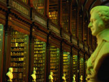 Bust in Longroom of Old Library in Trinity College, Dublin, Leinster, Ireland Photographic Print by Oliver Strewe