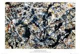Silber auf Schwarz Poster von Jackson Pollock
