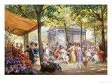 Parisian Flower Market Gicléedruk van Eugene Auguste Deully