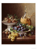 Still Life of Grapes  Plums and Wine