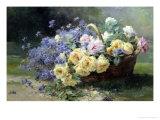 Basket of Flowers Giclee Print by Albert Tibulle de Furcy Lavault