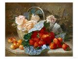 Still Life of Summer Fruit and Peach Roses ジクレープリント : エロイス・ハリエット・スタナード