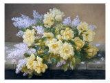 Still Life of Yellow Roses with Lilac Gicléedruk van Raoul Victor Maurice Maucherat de Longpre