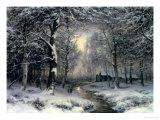 Wooded Winter Landscape, c.1899 Reproduction procédé giclée par Carl Fahrbach