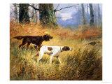 Pointers in a Landscape Giclée-tryk af Eugene Petit