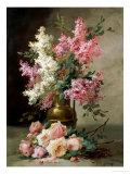 Roses et lys Reproduction procédé giclée par Alfred Godchaux