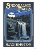 Snoqualmie Falls by Night, Washington Arte por  Lantern Press