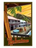 Old Lahaina Fishing Town with Surfer, Maui, Hawaii 高品質プリント : ランターン・プレス