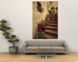 Tuscan Staircase, Italy Carta da parati decorativa di Walter Bibikow