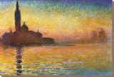 Sunset In Venice Stretched Canvas Print by Claude Monet