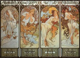 Les Saisons Framed Canvas Print by Alphonse Mucha